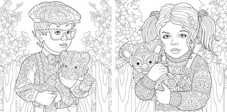 Children. Coloring Pages. Coloring Book for adults. Colouring pictures with kids holding baby tiger and koala bear. Antistress freehand sketch drawing with doodle and elements.