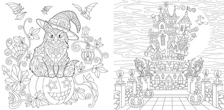 Halloween. Coloring Pages. Coloring Book for adults. Colouring pictures with cat on pumpkin and horror house. Antistress freehand sketch drawing with doodle and elements.