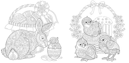 Easter. Coloring Pages. Coloring Book for adults. Colouring pictures with bunny and chickens drawn in style. Vector illustration. Ilustração
