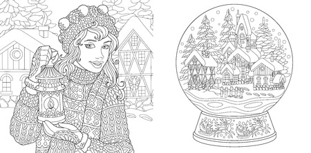 Coloring Pages. Coloring Book for adults. Colouring pictures with winter girl and magic snow ball. Antistress freehand sketch drawing with doodle and  elements.