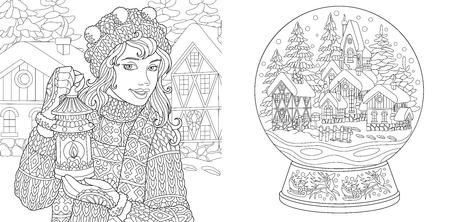 Gekleurde pagina's. Kleurboek voor volwassenen. Kleurplaten met wintermeisje en magische sneeuwbal. Antistress uit de vrije hand schetstekening met doodle en elementen. Vector Illustratie