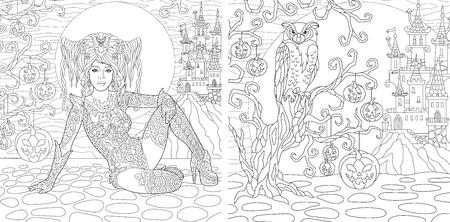 Coloriage Halloween. Livre de coloriage pour adultes. Fille gothique, fond d'horreur avec château, citrouilles et hibou. Dessin de croquis à main levée antistress avec doodle et éléments. Vecteurs