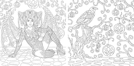 Coloring Pages. Coloring Book for adults. Witch girl with wings. Halloween horror background with pumpkins and crow. Antistress freehand sketch drawing with doodle and elements. Vectores