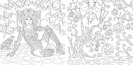 Halloween. Coloring Pages. Coloring Book for adults. Witch girl with bats. Horror background with pumpkins and crow. Antistress freehand sketch drawing with doodle and elements. Ilustração