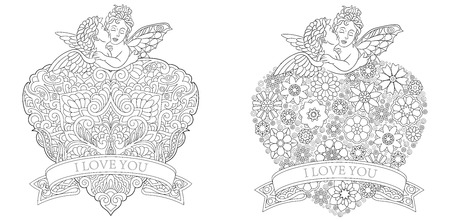 Valentine. Love hearts. Coloring Book Pages with couple of baby angels kissing. Antistress freehand sketch drawing with doodle and elements. Ilustração