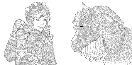 Coloring Pages. Coloring Book for adults. Colouring pictures with winter girl and horse. Antistress freehand sketch drawing with doodle and elements. Ilustração