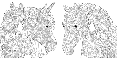 Coloring Pages. Coloring Book for adults. Colouring pictures with fantasy girl and unicorn horse drawn in style. Vector illustration. Ilustração
