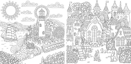 Coloring Pages. Coloring Book for adults. Colouring pictures with sea and city landscapes drawn in style. Vector illustration.