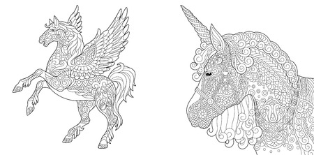 Coloring Pages. Coloring Book for adults. Colouring pictures with unicorn and pegasus horse. Antistress freehand sketch drawing with doodle and elements. Ilustração