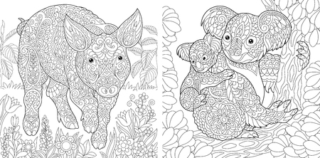 Coloring Pages. Coloring Book for adults. Cute Pig - 2019 Chinese New Year symbol. Colouring picture with koala bears. Antistress freehand sketch drawing with doodle and  elements. Illustration