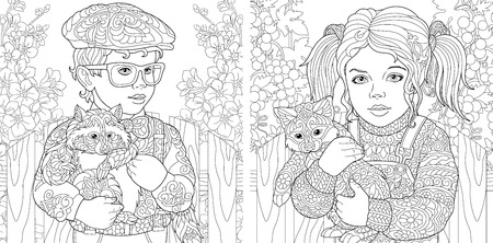 Coloring Pages. Coloring Book for adults. Colouring pictures with boy and girl embracing furry animals. Antistress freehand sketch drawing with doodle and elements. Ilustração