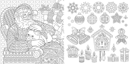New Year. Christmas. Coloring Pages. Coloring Book for adults. Colouring pictures with Santa Claus drawn in style. Vector illustration.