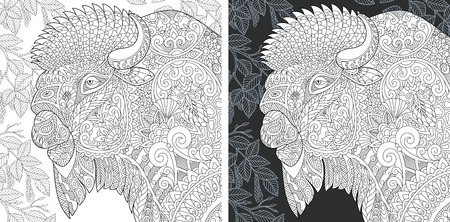 Coloring Page. Coloring Book. Colouring picture with Bison drawn in style. Antistress freehand sketch drawing. Vector illustration.