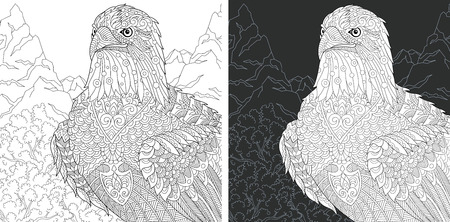 Eagle. Coloring Page. Coloring Book. Colouring picture with bald eagle drawn in style. Antistress freehand sketch drawing. Vector illustration.