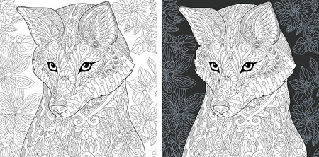 Coloring Page. Coloring Book. Colouring picture with Fox drawn in style. Antistress freehand sketch drawing. Vector illustration. Ilustração