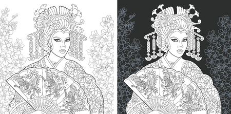 Japanese art. Coloring Page. Coloring Book. Colouring picture with geisha drawn in style. Antistress freehand sketch drawing. Vector illustration.