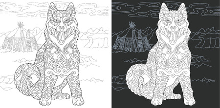 Coloring Page. Coloring Book. Colouring picture with Husky Dog drawn in style. Antistress freehand sketch drawing. Vector illustration.