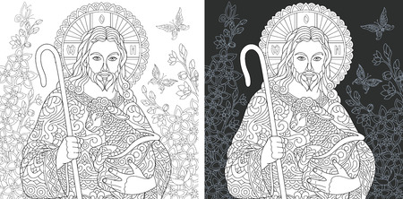Religion. Coloring Page. Coloring Book. Colouring picture with Jesus Christ drawn in style. Antistress freehand sketch drawing. Vector illustration. Ilustração
