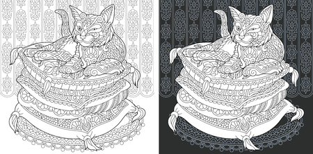 Coloring Page. Coloring Book. Colouring picture with Cat drawn in style. Antistress freehand sketch drawing. Vector illustration.