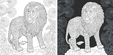 Animal. Coloring Page. Coloring Book. Colouring picture with lion drawn