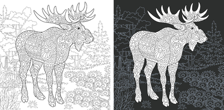 Coloring Page. Coloring Book. Colouring picture with Moose drawn in style. Antistress freehand sketch drawing. Vector illustration.