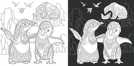 Manchot. Coloriage. Livre de coloriage. Image à colorier avec des animaux polaires dessinés avec style. Dessin de croquis à main levée anti-stress. Illustration vectorielle.