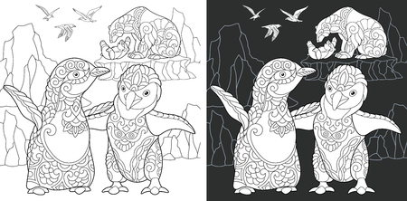 Penguin. Coloring Page. Coloring Book. Colouring picture with polar animals drawn in style. Antistress freehand sketch drawing. Vector illustration.