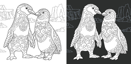 Coloring Page. Coloring Book. Colouring picture with Penguin couple drawn in style. Antistress freehand sketch drawing. Vector illustration.
