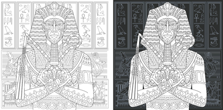 Coloring Page. Coloring Book. Colouring picture with egyptian pharaoh drawn in style. Antistress freehand sketch drawing. Vector illustration.