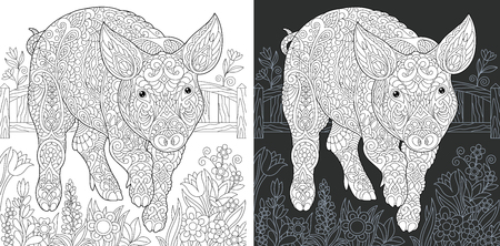 Pig. Coloring Page. Coloring Book. Colouring picture with piggy drawn in style. Antistress freehand sketch drawing. Vector illustration.
