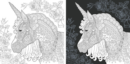 Unicorn. Coloring Page. Coloring Book. Colouring picture with fantasy horse drawn in style. Antistress freehand sketch drawing. Vector illustration.
