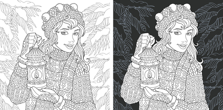 Girl. Coloring Page. Coloring Book. Colouring picture with snowy forest drawn in style. Antistress freehand sketch drawing. Vector illustration.