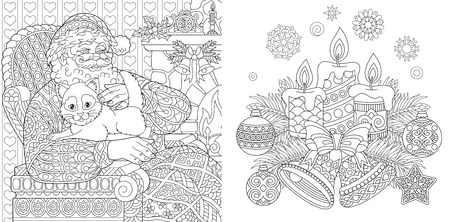 Christmas Colouring Pages. Coloring Book for adults. Santa Claus with a cat. New Year background. Vintage  Xmas ornaments.