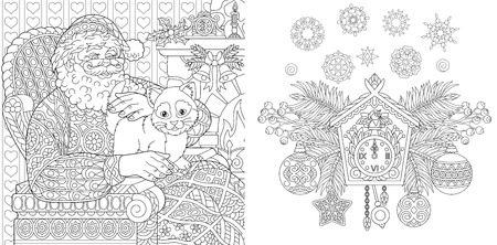 Christmas coloring book. Christmas colouring pages. Santa Claus with a cat in vintage style. New Year background. Xmas ornaments.