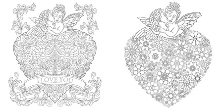 Coloring Pages. Coloring Book for adults. Colouring pictures. Valentines day greeting cards drawn in zentangle style. Ilustração