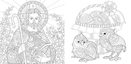 Easter. Coloring Pages. Coloring Book for adults. Colouring pictures with Jesus and chickens drawn in zentangle style. Stock Illustratie