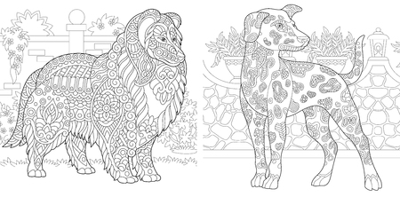 Coloring Pages. Coloring Book for adults. Colouring pictures with Rough Collie and Dalmatian dogs. Antistress freehand sketch drawing with doodle and zentangle elements. Ilustração