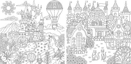 Gekleurde pagina's. Kleurboek voor volwassenen. Kleurplaten met fantasiekastelen en huizen getekend in zentanglestijl.