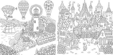 Pages de coloriages. Livre de coloriage pour adultes. Images à colorier avec phare et château de conte de fées. Dessin d'esquisse à main levée anti-stress avec des éléments de griffonnage et de zentangle. Vecteurs