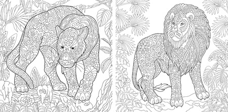 Coloring Pages. Coloring Book for adults. Colouring pictures with panther and lion. Antistress freehand sketch drawing with doodle and zentangle elements. Illustration