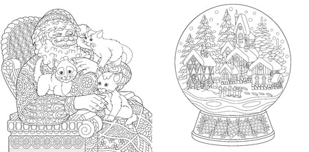Coloring Pages. Coloring Book for adults. Colouring pictures with Santa Claus and magic snow ball. Antistress freehand sketch drawing with doodle and zentangle elements.