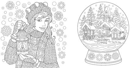 Kolorowanki. Kolorowanka dla dorosłych. Kolorowanie obrazków z zimową dziewczyną i kryształową kulą śnieżną. Antystresowy odręczny szkic, rysunek z elementami doodle i zentangle. Ilustracje wektorowe