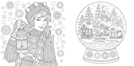 Coloring Pages. Coloring Book for adults. Colouring pictures with winter girl and crystal snow ball. Antistress freehand sketch drawing with doodle and zentangle elements.