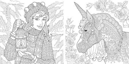 Fantasie kleurplaten. Kleurboek voor volwassenen. Kleurplaten met wintermeisje en magische eenhoorn. Anti-stressprogramma schetstekening uit de vrije hand met doodle en zentangle-elementen.