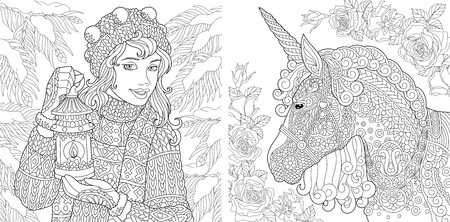 Fantasy Coloring Pages. Coloring Book for adults. Colouring pictures with winter girl and magic unicorn. Antistress freehand sketch drawing with doodle and zentangle elements. Stockfoto - 110955680