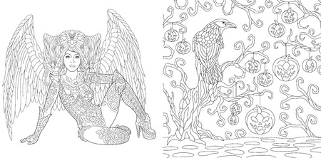 Halloween Coloring Pages. Coloring Book for adults. Angel girl with wings. Horror background with pumpkins and crow. Antistress freehand sketch drawing with doodle and zentangle elements. Stock Illustratie