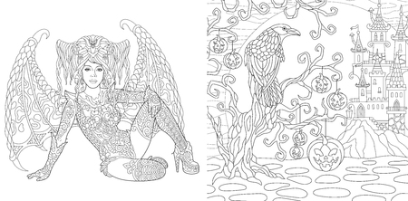 Coloring Pages. Coloring Book for adults. Colouring pictures with Halloween decorations drawn in zentangle style.