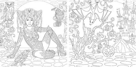 Pages de coloriages. Livre de coloriage pour adultes. Images à colorier avec la sorcière d'Halloween dessinées dans un style zentangle.