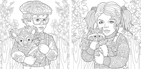 Coloring Pages. Coloring Book for adults. Colouring pictures with kids holding furry animals drawn in zentangle style. Stockfoto - 110955685