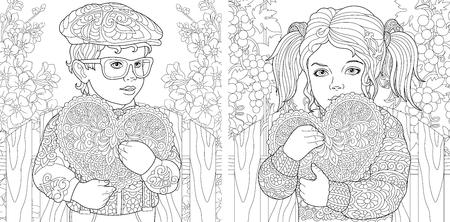 Dol zijn op. Gekleurde pagina's. Kleurboek voor volwassenen. Kleurplaten met lieve kinderen die Valentijnsdagharten vasthouden.